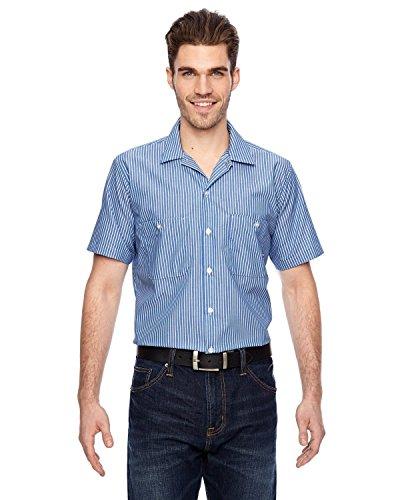 Dickies Occupational Workwear Ls535bls Polyester/Coton pour homme à manches courtes Chemise de travail industriel, GM Bleu et blanc à rayures, XXL Tal