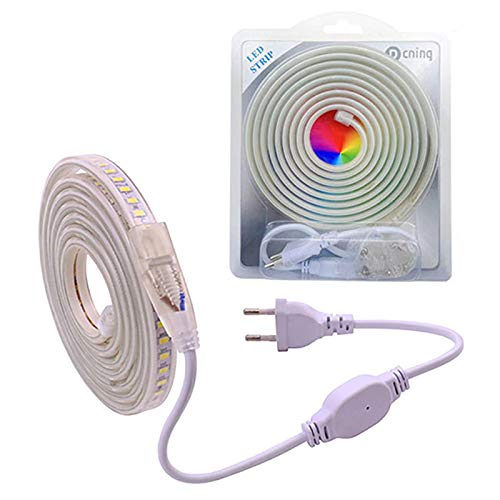 Tira Led AC 220V IP67 5730 120led/m 3M Blanco Tira de luz LED flexible con enchufe de cable de alimentación estándar europeo
