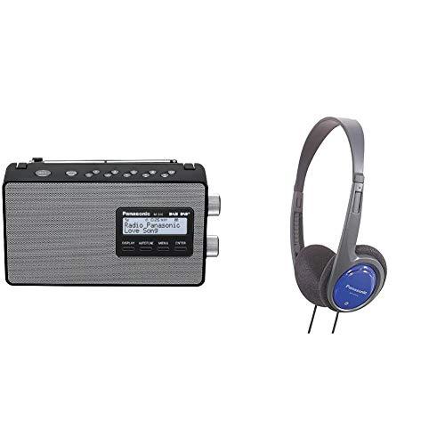 Panasonic RF-D10EG-K Digitalradio (DAB+/UKW Tuner, Netz- und Batteriebetrieb) schwarz & RP-HT010E-A Bügelkopfhörer (1,2m Kabellänge; Kopfhörer Klinkenstecker; geringes Gewicht) blau