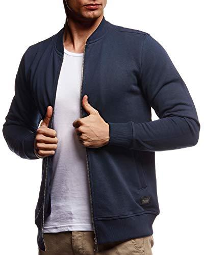 Leif Nelson Herren Sweatjacke Freizeitjacke mit Stehkragen Schwarze Männer Übergangsjacke Baumwolle-Anteil Basic Sweater Jacke mit Reißverschluss ohne Kapuze Sommer LN8346 Dunkel Blau Large