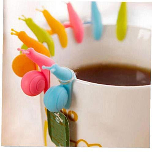 AYRSJCL 10Pcs / Lot Nette Schnecke-Form-Silikon-Tee-Beutel-Halter-Schalen-Becher-Süßigkeit-Farben-Geschenk-Set Guter Tee Werkzeuge zufällige Farbe