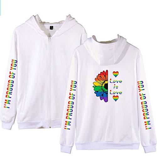 Luanda* Bandera del Arco Iris, LGBT 2021, Chaquetas SuéTeres, Mangas Largas Sueltas, Chaquetas De Moda, Tops Casuales Japoneses/White / 2XL