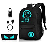 Luminous School Backpack,Horsky Anime Cartoon Music Boy Shoulder Laptop Travel Bag Daypack College Bookbag Night Light for Students with USB Charging Port,Lock and Pencil Case 35L (No Power Source)