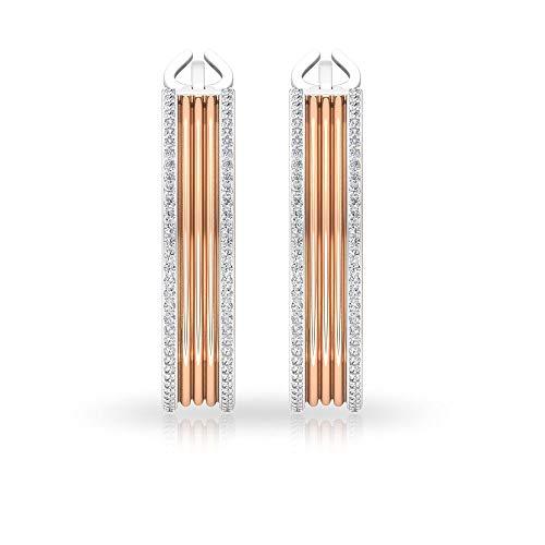Pendientes de aro de diamante certificado IGI de 0,77 ct, de dos tonos para mujeres, HI-SI Color Clarity Channel Set Pendientes, declaración de compromiso de oro 14K Oro rosa, Par