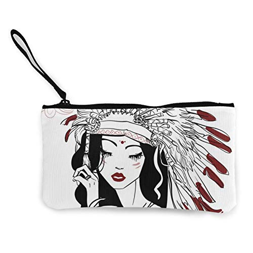 Moneda de lona, joven y hermosa mujer nativa americana con cremallera, bolsa de cosméticos de viaje multifunción bolsas de maquillaje para teléfono móvil, paquete de lápices con asa