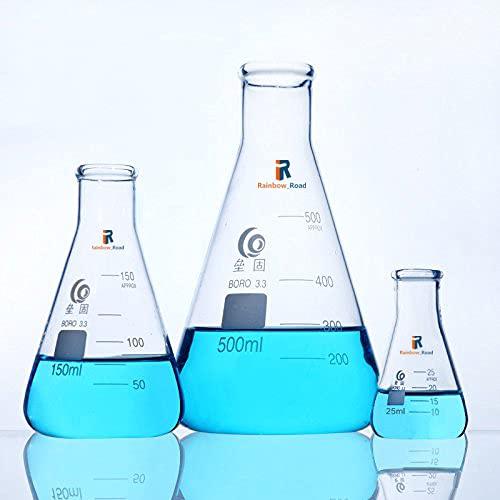 Erlenmeyer - Fiaschetta in vetro borosilicato 3,3 graduato conico bocca stretta Erlenmeyer boccetta conica misurino fiaschetta chimica 50 ml