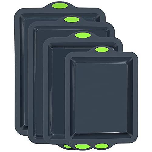 To encounter Silicone Baking Pans Set, 4 Pieces Nonstick Bakeware Set with Baking Pans, Baking Sheets, Cookie Sheets, Cake Pan with Metal Reinforced Frame More Strength, Dark Gray with Green Grips