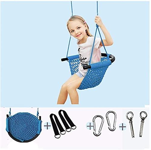 Columpio portátil de ocio Columpio de malla para niños, Columpio de hamaca tejido a mano para interiores y exteriores con respaldo, Hamaca de jardín al aire libre divertida para niños (Color: B)