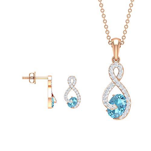 Rosec Jewels 10 quilates oro rosa round-brilliant-shape H-I Diamond