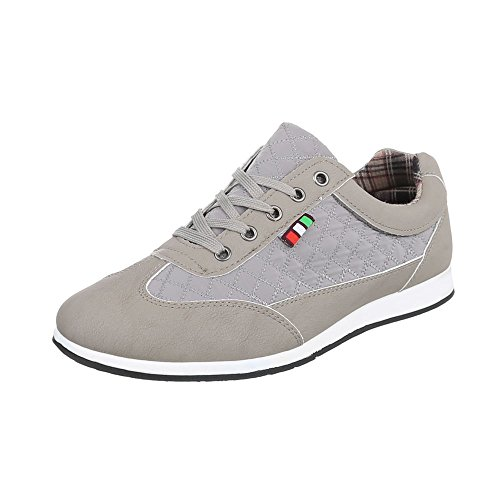 Ital Design Turnschuhe Herren-Schuhe Low-Top Schnürer Schnürsenkel Sneaker Grau, Gr 40, C9009-9-