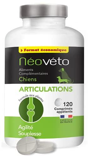 Néovéto ARTICULATIONS Format éco 120 comprimés naturels pour Chiens souffrant d'arthrose à Base de glucosamine, chondroïtine, agréées par Les Services vétérinaires français, fabriqué en France