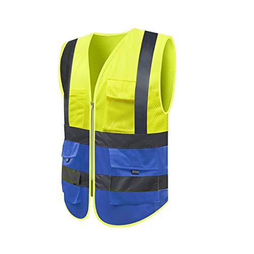 Jia He Arbeitskleidung Warnweste, Mesh-Stoff reflektierende Weste Weste Verkehr BAU-Sicherheitsweste Sanitation Straße Site-Sommer-Breathable Kleidung ## (Size : D-M)