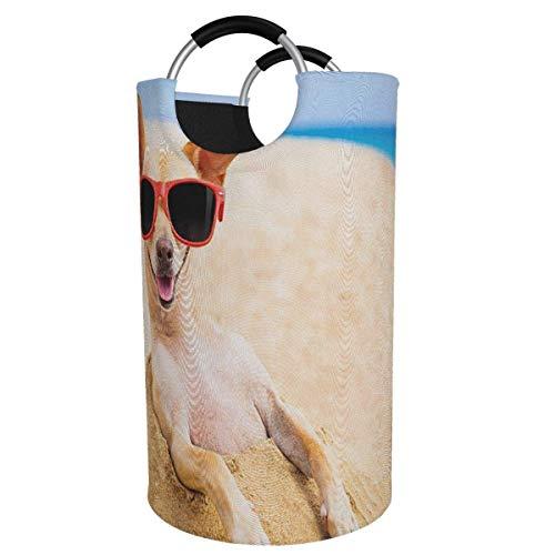 Suzanne Betty Cesto para la colada extragrande, de 82 l, para perros chihuahua, plegable, con asas de aluminio, cesta grande para la ropa de niños, cesta de almacenamiento redonda para dormitorio
