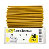 100% Pure Beeswax Taper Candles - Décor, Natural Honey Scent, for Home, Cake, Dinner, Prayer, Hanukkah Church, Christmas, Smokeless, Dripless Slow Burning, Non Toxic (50, 8)
