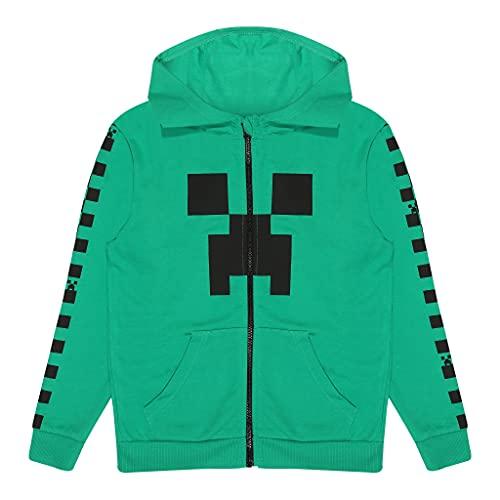 Popgear Minecraft Creeper Schachbrett-Streifen Junge Zippped Hoodie Grün 122   Gamer Geschenke, Schule Jungen Kapuzenoberteil, Kinderkleidung, Kindergeburtstags-Geschenk-Idee