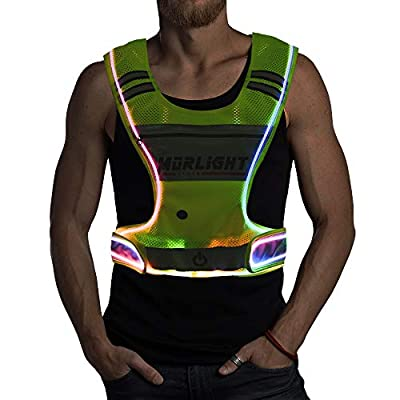 LED Reflective Vest Running Gear with Pouch, USB Charging & Ultralight Reflective Safety Vest | Large Pocket & Adjustable Waist for Night Running Jogging Cycling - 3 LED Glowing Modes Reflector Strips
