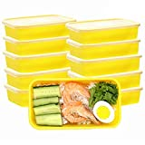 Contenedores de preparación de comidas con tapas, caja de almuerzo premium, sin BPA, reutilizables, lavavajillas, microondas, congelador, caja fuerte, paquete de 10 (Yellow)
