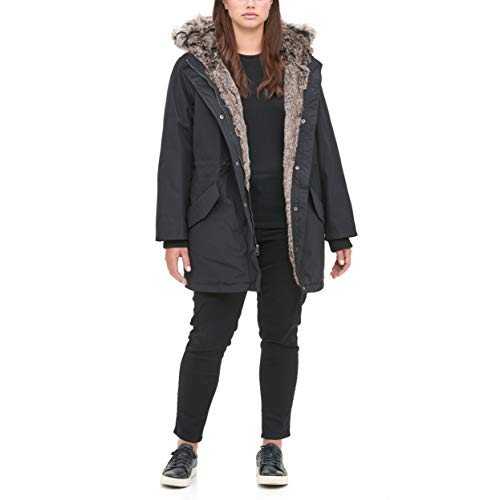 Levi's Women's Faux Fur Lined Hooded Parka Jacket(Standard and Plus Size), black, Medium