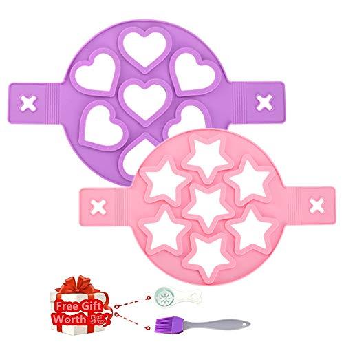 KeepingcooX Omelette, Silikon, Antihaftbeschichtung, wiederverwendbar, für Omelettes und Pfannkuchen, 7 Kreise, Herz & Stern, 2 Stück