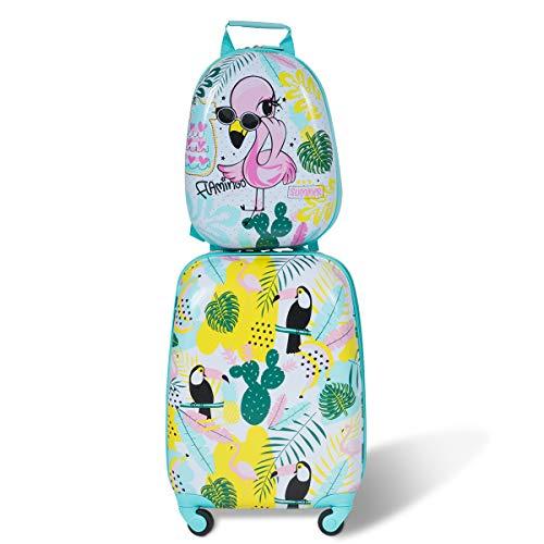 COSTWAY 2tlg Kinderkoffer + Rucksack Kofferset Kindertrolley Kindergepäck Handgepäck Reisegepäck Hartschalenkoffer (Modell 2)
