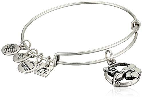 Alex and Ani Women's Hummingbird Charm Bangle Bracelet, Rafaelian Silver, Expandable