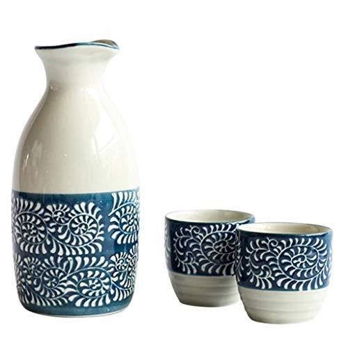 JTSYUXN Juego de Tazas de Sake japonés Tradicional Pintado a Mano Azul Blanco Porcelana cerámica Tazas artesanías Vasos de chupito Vasos para Beber Sake holer para té café Sake Licor 200 ml,50 ml