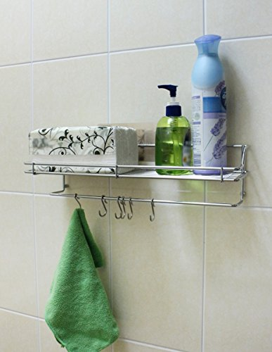 Drill-Free  Removable  Reusable Adhesive Wall Rack   Shower Caddy Basket   Kitchen Spice Rack   Behind the Door Accessory Holder - Rack with 6 Hooks