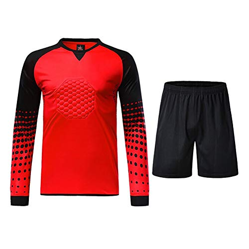 LXC Antikollisions Fußball Torwart-Set Gepolstert Tops + Hosen 2St Schutz Outfit Padded Protective (Color : Red, Size : XL)