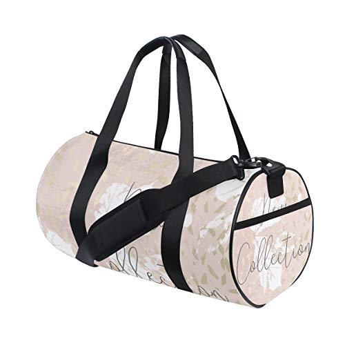 ZOMOY Sporttasche,Herbstkollektion Trendy Chic Gold Blush,Neue Druckzylinder Sporttasche Fitness Taschen Reisetasche Gepäck Leinwand Handtasche