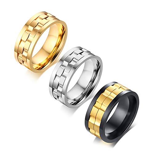 LONG-D Neue 9Mm Gold Schwarz Drehbare Edelstahl Hochzeit Ringe Für Mann,Gold,10 = 20mm