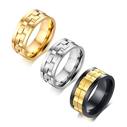 LONG-D New 9Mm Gold Black Rotatable Stainless Steel Wedding Rings for Men,Gold,8 = 18mm