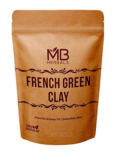 MB Herbals French Green Clay 100g | (3.5 oz) | 100% Pure Montmorillonite Clay | Absorbs Excess Oil | Detoxifies Skin | Recommended For Oily Skin | Mined and Processed in India