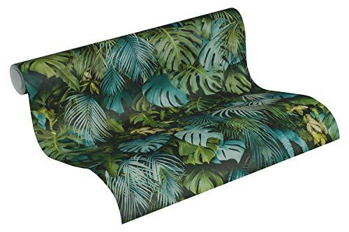 A.S. Création Vliestapete Greenery Tapete in Dschungel Optik mit Palmenblättern 10,05 m x 0,53 m grün blau Made in Germany 372803 37280-3