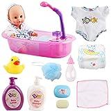 deAO Set de Bain avec Poupée, Baignoire et Autres Accessoires pour Enfants