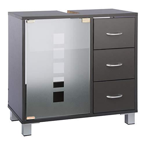 Limal Waschtischunterschrank mit 3 Schubladen Holz grau, 30 x 60 x 56 cm | Glastür | Teilrückwand | Aussparung für Siphon