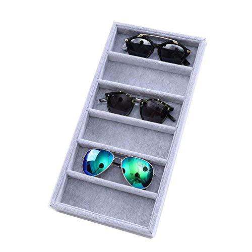 Brillenetui mit 6 / 12 Fächern, Samt, für Sonnenbrillen, Brillen, Aufbewahrung, Aufbewahrung, Brillen, Brillenhalter, Aufbewahrung, Ständer für Schmuck, Uhren, Sonnenbrillen 6 Grid