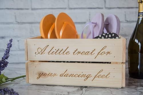 JLL Designs Caja de zapatos de boda para cajón/chanclas – pequeño regalo para tus pies de baile