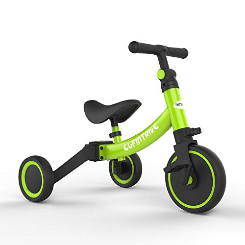 besrey Kinder Dreirad Laufrad Kinderlaufrad Rutschenrad mit Pedal, 5 Verschiedene Modi für Baby von 1 bis 4 Jahren - Grün