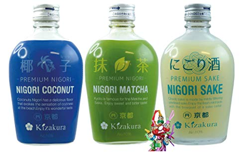 yoaxia ® - 3 Sorten Pack - [ 3x 300ml ] KIZAKURA Premium Nigori Sake (je 1x 300ml Nigori Coconut, Nigori Matcha, Nigori Sake) + ein kleines Glückspüppchen - Holzpüppchen