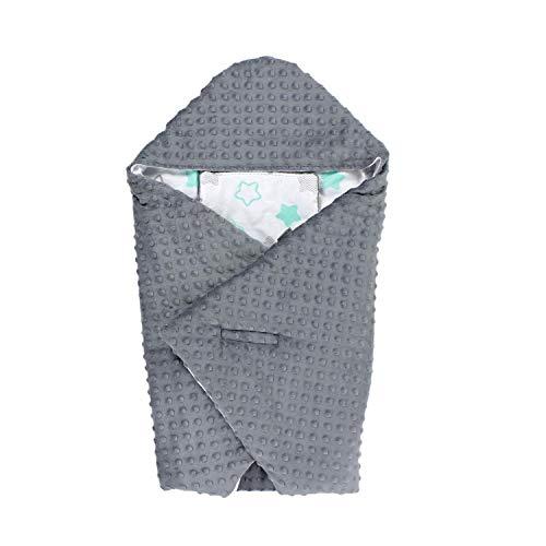 TupTam Einschlagdecke 5 Punkt Gurt für Babyschale - Sommer, Farbe: Sterne Mint Grau/Graphit, Größe: ca. 75 x 75 cm
