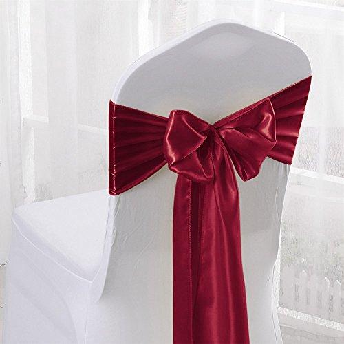 Malayas 25 Stück Satin Stuhlschleife 17 x 275 cm Schleifenband aus Satin für Stuhlhussen und Stehtischhussen Dekorativ