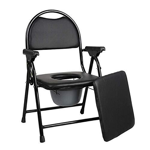 RAXST Toilettenstuhl fahrbar, bis 150 kg, sicheren Toilettenrahmen für Pflege Toilettenrollstuhl Aluminium, für Erwachsene Handicap Senioren mit Deckel, schwarz