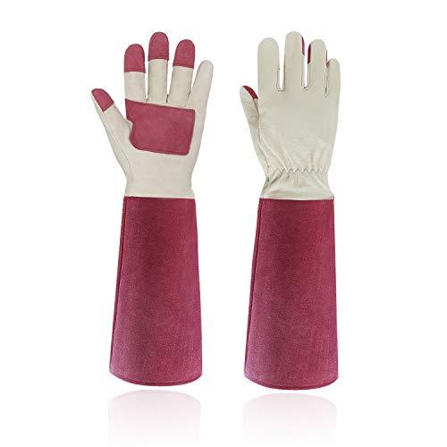HANDLANDY Gartenhandschuhe aus Schweinsleder und Rindsleder für Damen und Herren,Atmungsaktive und Stichfeste Lange Lederhandschuhe