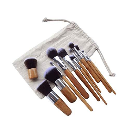 JFFFFWI Pinceaux à paupières Bamboo Handle Makeup Brush Set of 11 Kabuki Foundation Brush Loose Powder Professional Facial Beauty Tools Set Brush with Linen Storage Bag