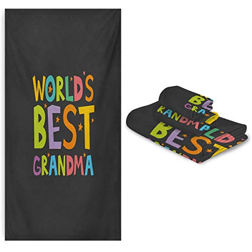 Zara Henry Grandma Quick Dry Bath Towel Best Grandmother Quote with Colorful Letters Doodle Stars on Greyscale Background Very Soft and Skin Friendly washcloths Multicolor