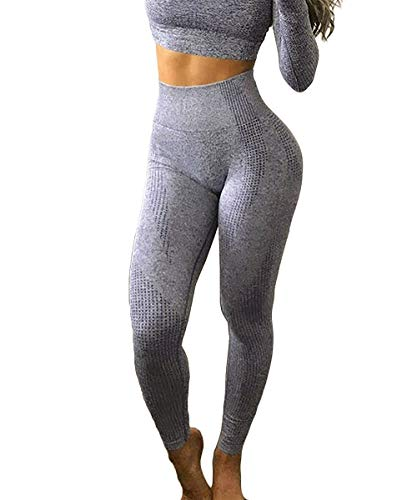 Yaavii Damen Sport Leggings Lange Blickdicht Sporthose Yogahose Fitnesshose mit Hohe Taille Bauchkontrolle Grau2 M