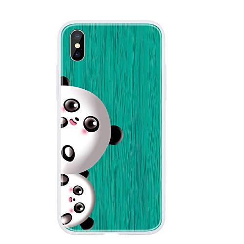 Miagon Holz Korn Hülle für iPhone XR,Ultra Dünn Weiche Silikon Handyhülle Cover Stoßfest Schutzhülle mit Schöne Süß Panda Muster,Grün