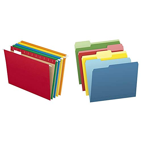 Pendaflex Hanging File Folders, Letter Size, Assorted Colors, 1/5-Cut Adjustable Tabs, 25 Per Box (81663) & Two-Tone Color File Folders, Letter Size, Assorted Colors, 1/3-Cut Tabs, Assorted, 36 Pack