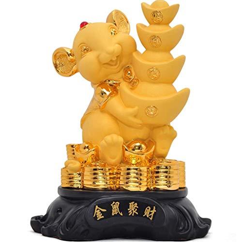 Estatuas de Feng Shui 2020 Año chino del zodiaco de la rata de gran tamaño regalos de oro Resina rata con Feng Shui Lingotes / Yuan Bao de Colección Figuras de los regalos Decor estatua decoraciones d