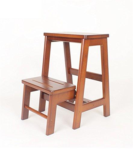 NYDZDM Echelle de Tabouret Pliante Multifonction Double Usage échelle 2/3, Bois Caoutchouc, 2 Couleurs, 2 Tailles (Color : Brown, Size : 3 Layers)